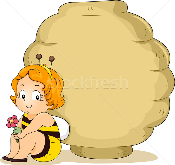 Baby Bee Girl with Beehive Stock photo © lenm