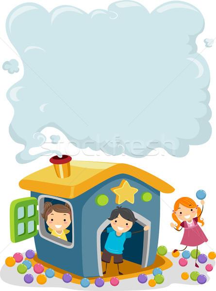 Gyerekek füst kémény illusztráció ki gyermek Stock fotó © lenm