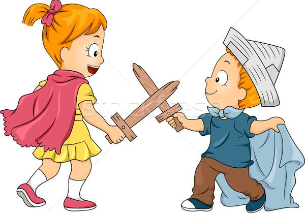 Stock photo: Kid Siblings Playing Swordfight