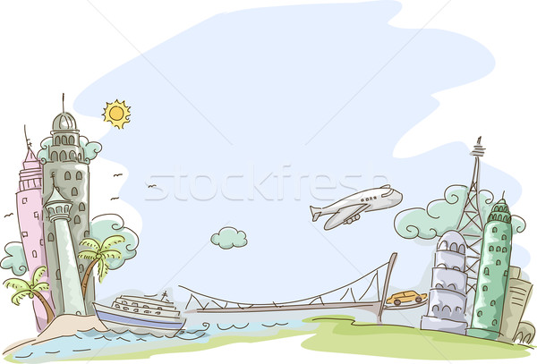 Travel Sketch Background Stock photo © lenm