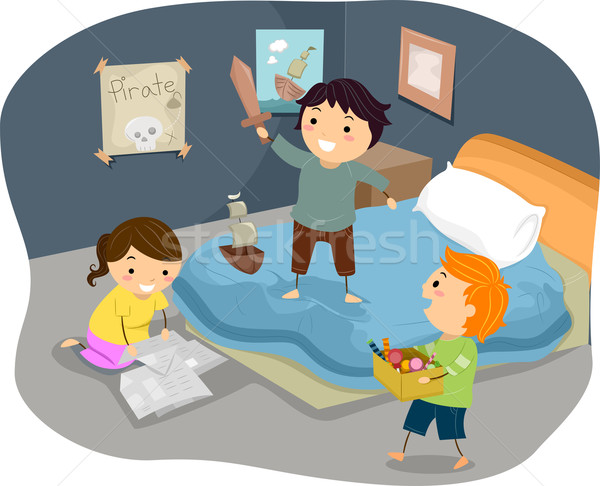 Stock photo: Illustration of Stickman Kids Playing Pirates in Bedroom
