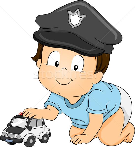 Bebé poli ilustración nino policía Foto stock © lenm