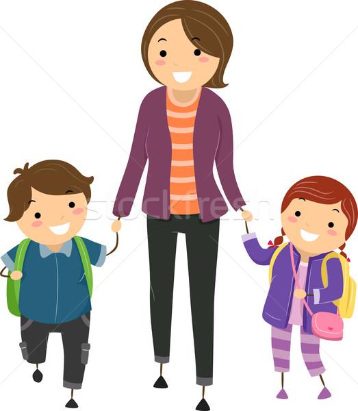 Escuela ilustración ninos mamá mujer Foto stock © lenm