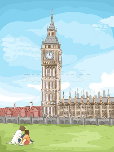 ビッグベン スケッチ 実例 ロンドン 漫画 ストックフォト © lenm
