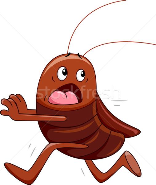 Ejecutando cucaracha ilustración lejos digital Cartoon Foto stock © lenm