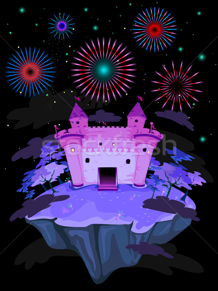 Castle and Fireworks Stock photo © lenm