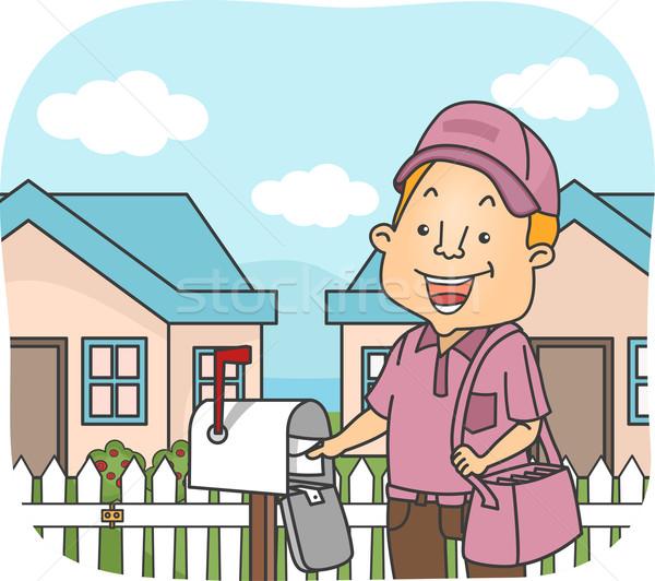 почтальон иллюстрация работу доставки мужчины письма Сток-фото © lenm