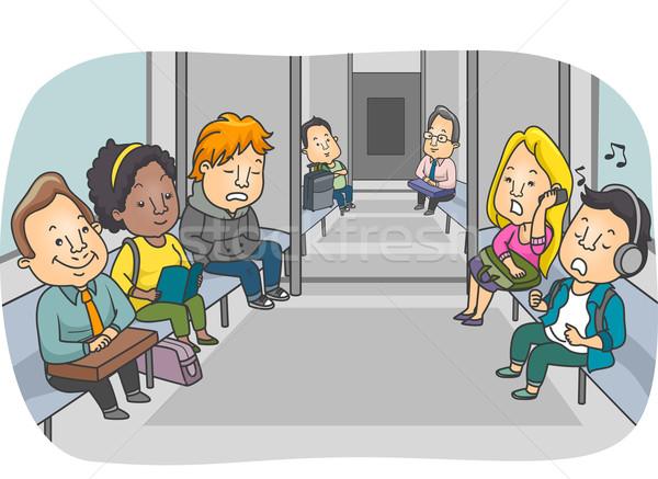 Metropolitana treno illustrazione passeggeri digitale femminile Foto d'archivio © lenm
