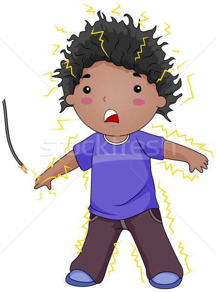 Electrocuted Kid Stock photo © lenm