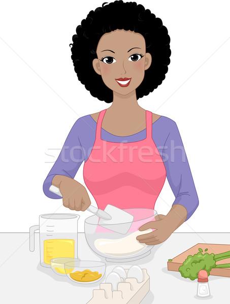Girl Mixing Bowl Stock photo © lenm
