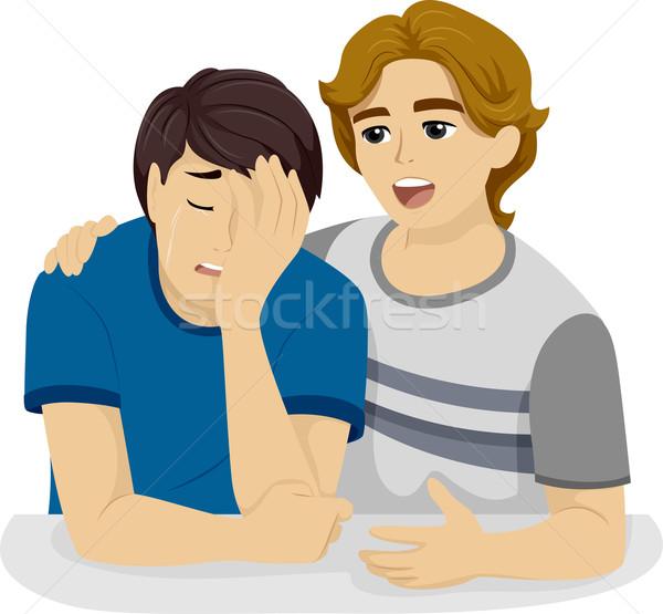 Teen jongen troostend vriend illustratie Stockfoto © lenm