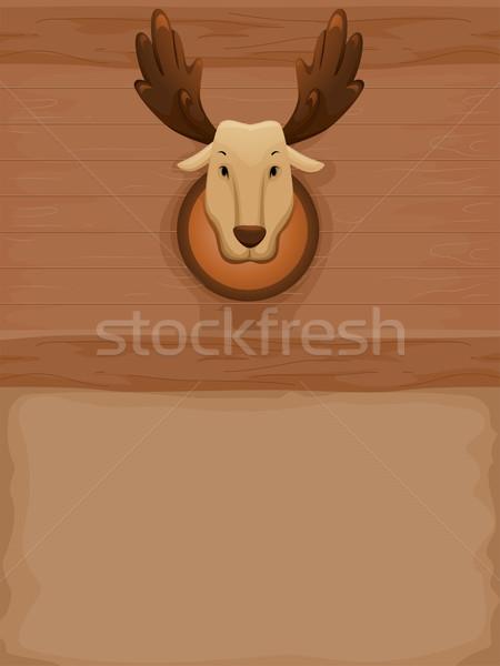 Taxidermia jávorszarvas illusztráció töltött fal háttér Stock fotó © lenm