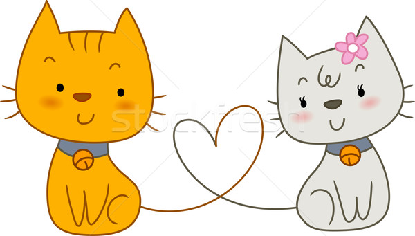 Stockfoto: Kat · illustratie · paar · katten · vorm · hart