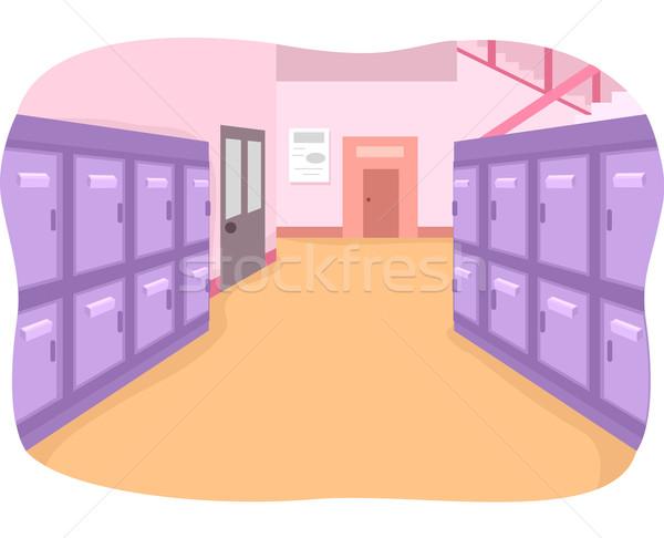 Szkoły korytarzu ilustracja pusty malowany jasne Zdjęcia stock © lenm
