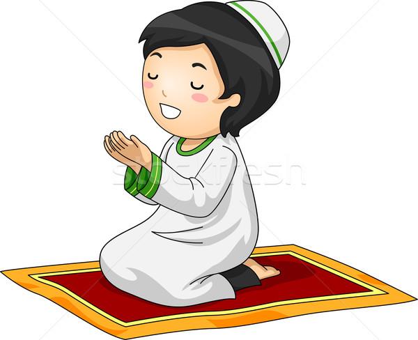 Kid Boy Muslim Pray Stock photo © lenm