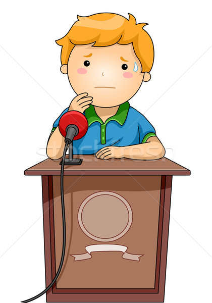 Kid мальчика подиум нервный иллюстрация Постоянный Сток-фото © lenm