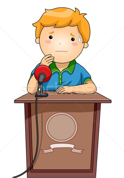 Kid jongen podium nerveus illustratie permanente Stockfoto © lenm