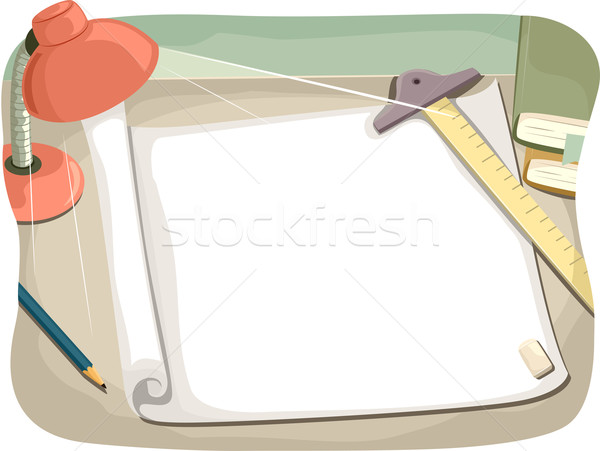 Desk Paper Architect Stock photo © lenm