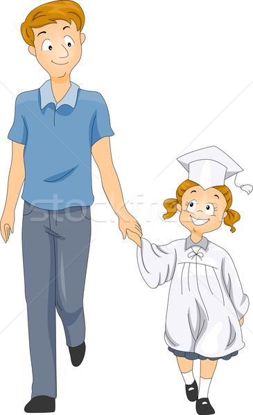 Nino padre graduación ilustración pequeño posgrado Foto stock © lenm