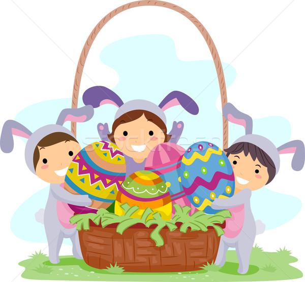 Kids Easter Eggs Stock photo © lenm