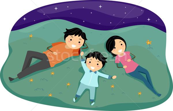 Rodziny ilustracja dziewczyna człowiek gwiazdki chłopca Zdjęcia stock © lenm