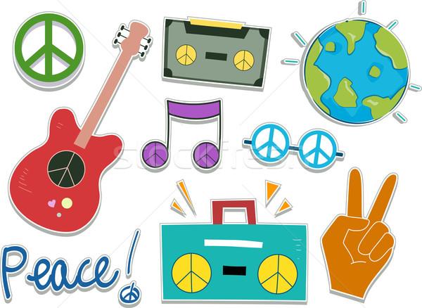 Barış etiket dizayn elemanları örnek gitar Stok fotoğraf © lenm