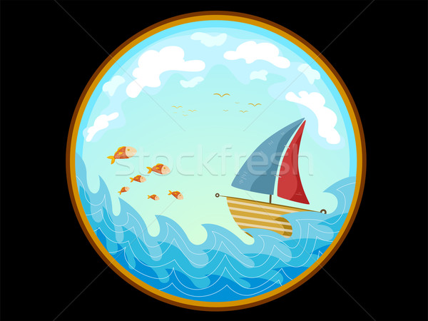 Telescopic View of a Sailboat Stock photo © lenm