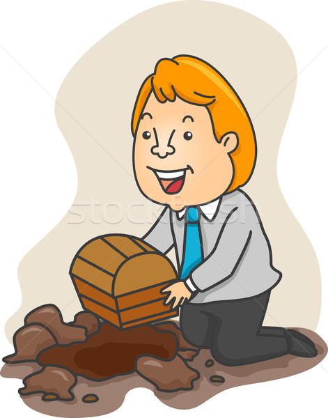 üzletember kincsesláda illusztráció térdel férfi arany Stock fotó © lenm