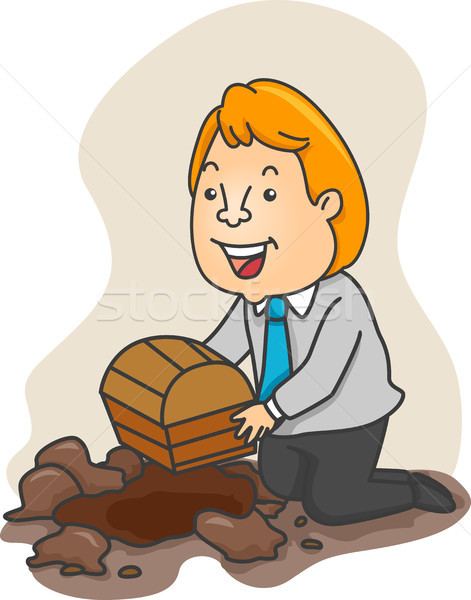 Businessman Burying a Treasure Chest Stock photo © lenm