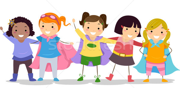 Girls in Superhero Costumes Stock photo © lenm