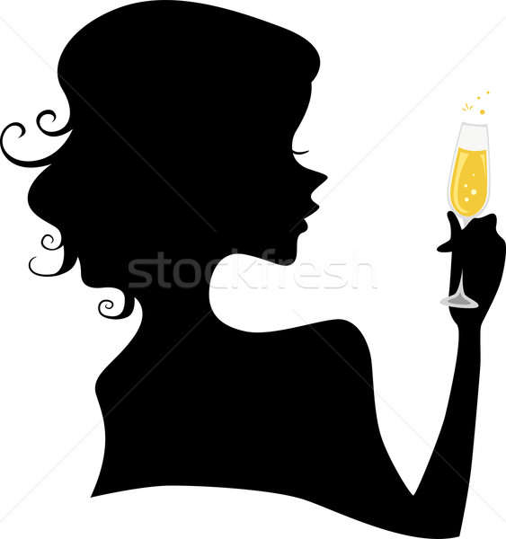 Silhouette of a Girl holding a Champagne Glass Stock photo © lenm