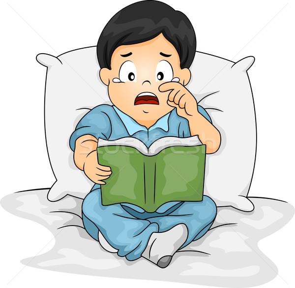 Asian jongen huilen verhaal boek illustratie Stockfoto © lenm