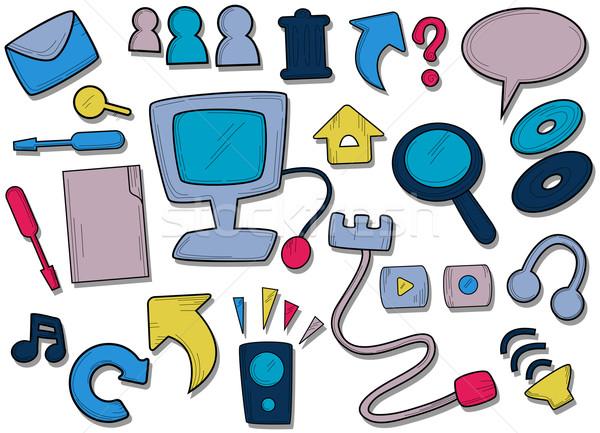 Teia ícones do computador envelope arquivos seta Foto stock © lenm