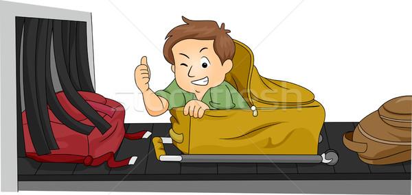 Bagages homme illustration cacher à l'intérieur réalisée Photo stock © lenm