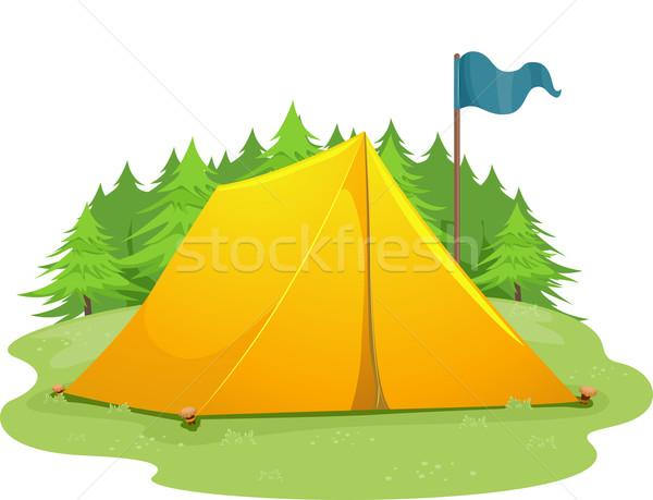 Kamp tent vlag illustratie Blauw permanente Stockfoto © lenm