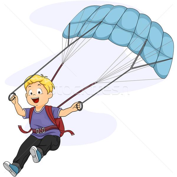 Parachute kid illustratie weinig jongen sport Stockfoto © lenm