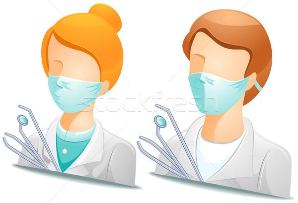 Zahnarzt Frau Symbol Gesundheitswesen Vektor Stock foto © lenm