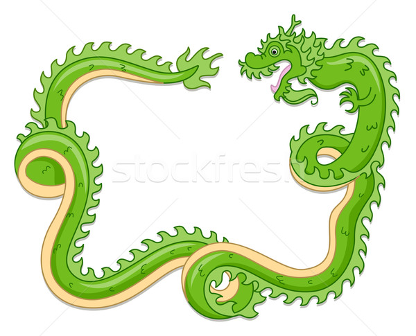 Asian dragon illustration vert recroquevillé chinois Photo stock © lenm