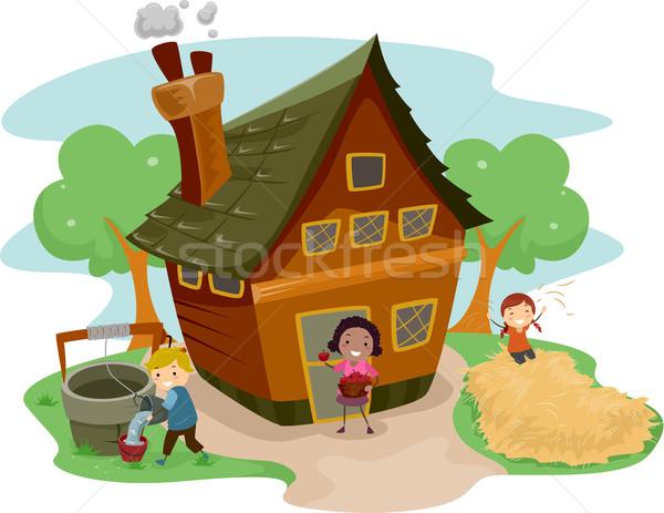Stickman Kids Farm House Stock photo © lenm