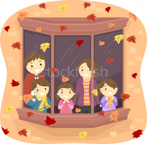 Familie Herbstlaub Illustration beobachten fallen Frau Stock foto © lenm
