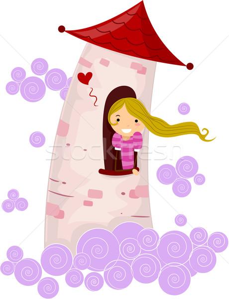 Strichmännchen Prinzessin Illustration Turm Mädchen Stock foto © lenm
