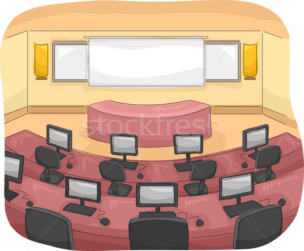 Multimédia szoba illusztráció egyéni számítógépek iskola Stock fotó © lenm