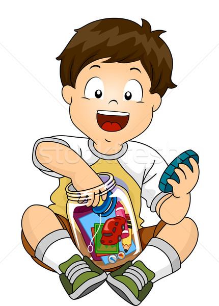 Criança menino jarra tempo cápsula ilustração Foto stock © lenm