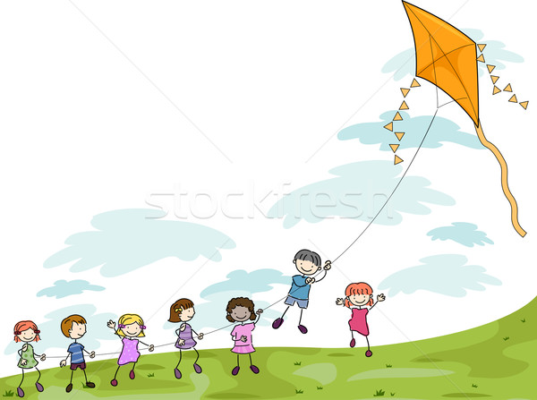 Kids Playing with a Kite Stock photo © lenm