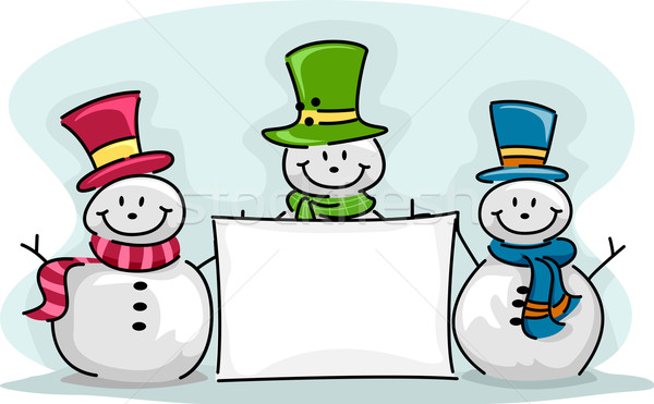 Pupazzo di neve banner illustrazione neve vacanze Foto d'archivio © lenm