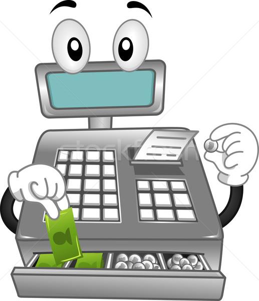 Stock foto: Registrierkasse · Maskottchen · Illustration · Cash · Karikatur · Vektor