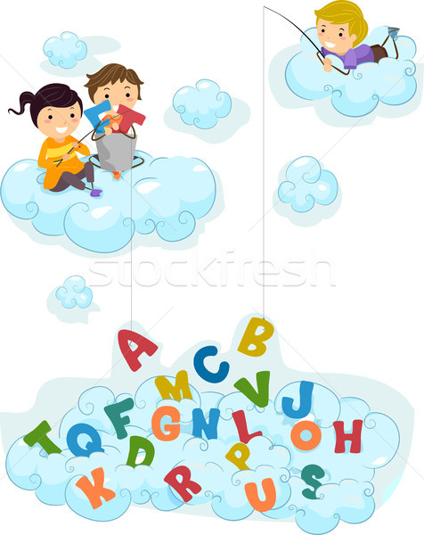 Illustration of Kids on Clouds fishing for Alphabet Stock photo © lenm