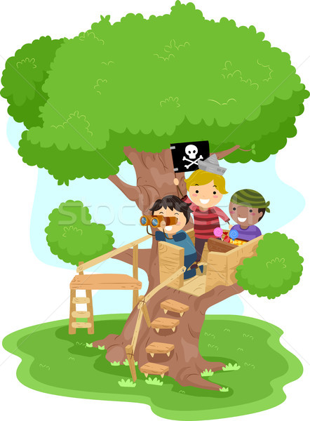 Pirate Boys on a Tree Stock photo © lenm