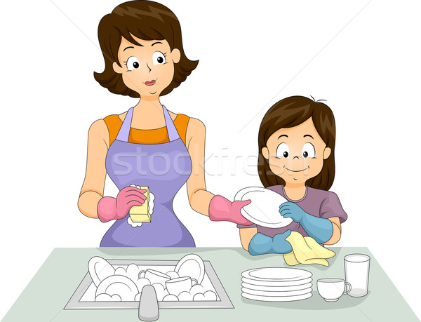 Mom and Daughter Washing Dishes Stock photo © lenm