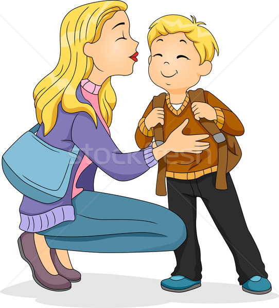 Viszlát csók illusztráció kaukázusi anya ültet Stock fotó © lenm